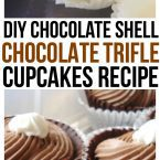 A hard chocolate cupcake shell filled with moist chocolate cake, creamy chocolate mousse and topped with whip cream. The Perfect Trifle Cupcakes Recipe.