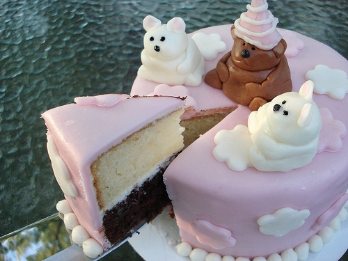 See my first Marshmallow Fondant cake with cute flowers, cute teddy bears and even fondant covered cupcakes not just a fondant covered cake!