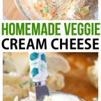 Homemade Vegetable Cream Cheese Spread recipe for bagels! Can be used for bagel chips as a vegetable cream cheese dip too.