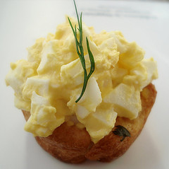 Deviled Egg Salad with Herb infused Croissant Cup