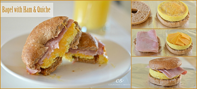 Bagel with Ham and Quiche Recipe