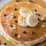 Banana Chocolate Chip Pancakes with Oatmeal
