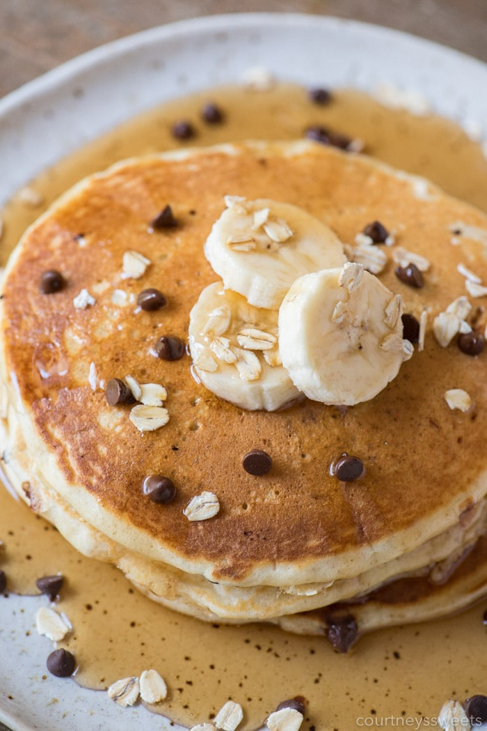 Banana Chocolate Chip Pancakes With Oatmeal Courtney S Sweets