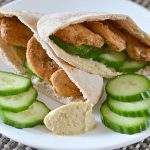 Pita with Hummus Stuffed with Chicken and Cucumbers
