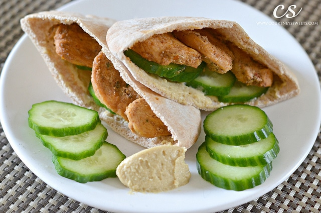 Pita Pocket with Chicken Cucumbers and Hummus