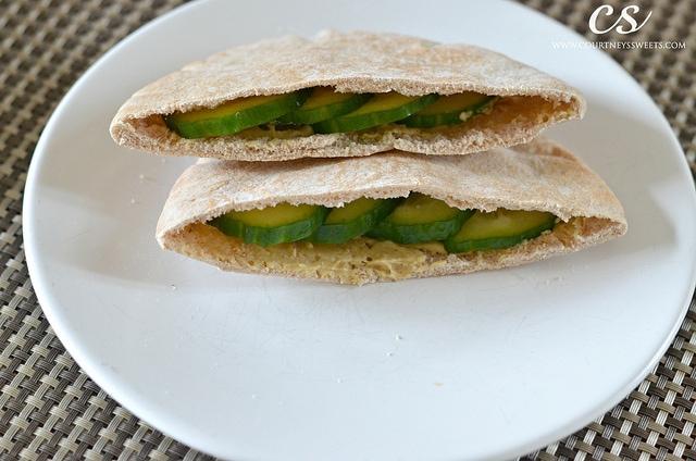 Pita Pocket with Chicken Cucumbers and Hummus
