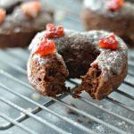 Baked Glazed Chocolate Doughnuts with RAW Strawberry Sprinkles
