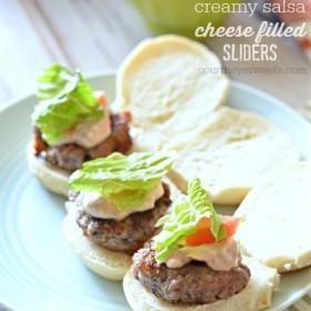 cream salsa cheese filled sliders recipe #SayCheeseburger #shop