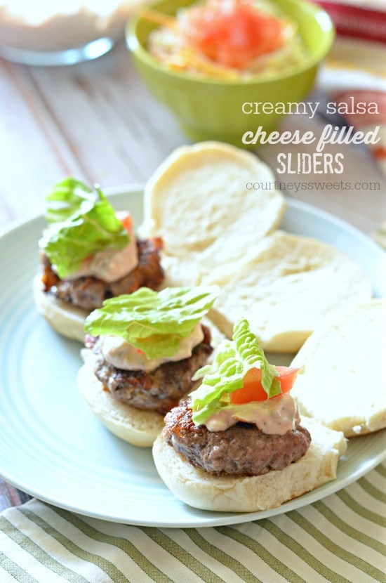 cream salsa cheese filled sliders recipe #SayCheeseburger #shop