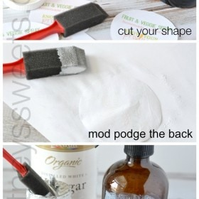 how to mod podge onto glass + homemade fruit and veggie spray