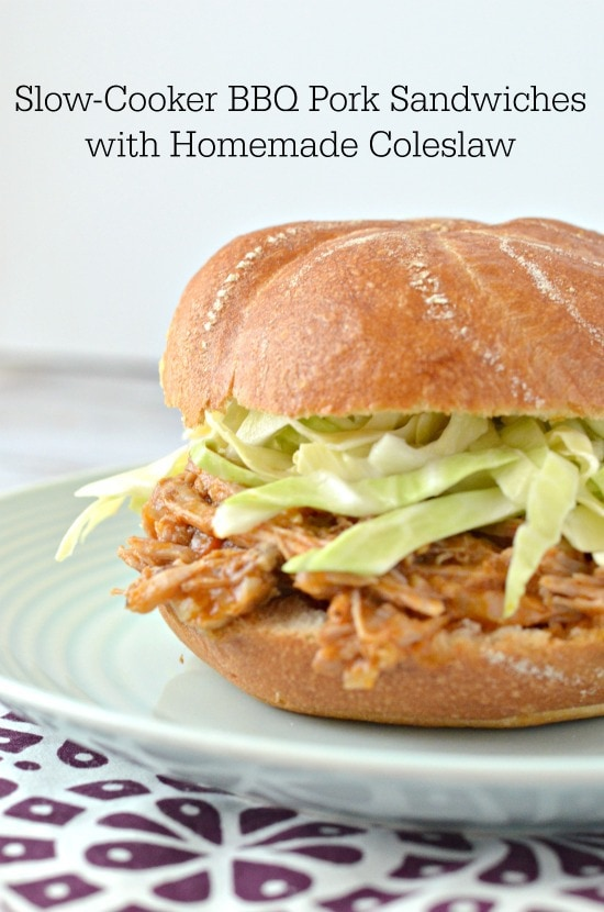Slow-Cooker BBQ Pork Sandwiches with Homemade Coleslaw