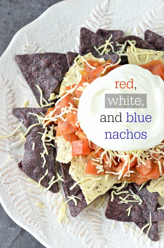 red white and blue nachos