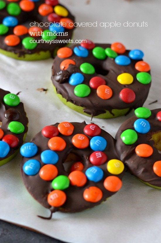 chocolate covered apple donuts with m&ms
