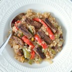 Steak with Peppers Quinoa and Rice