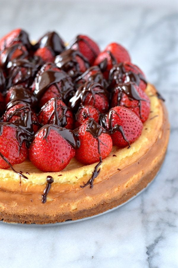 Chocolate Covered Strawberry Vanilla Bean Cheesecake Recipe - Courtney ...