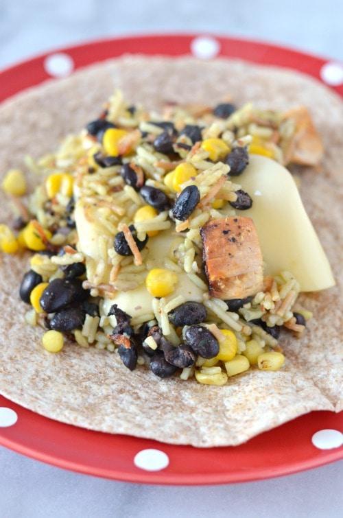 Cheesy Fiesta Chicken Burritos