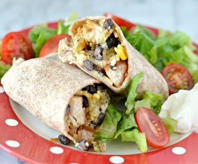 Cheesy Fiesta Chicken Burritos