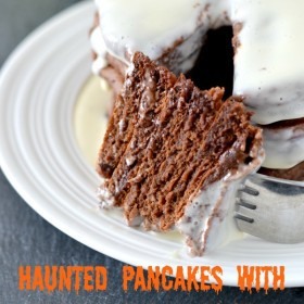 Haunted Pancakes with Melted Ghost Syrup or.. chocolate, chocolate chip pancakes with cream cheese syrup
