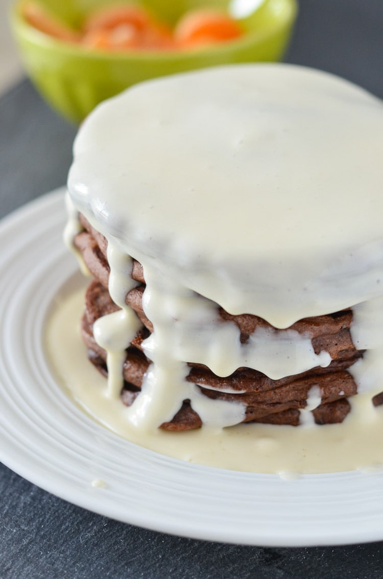 chocolate pancakes with cream cheese syrup
