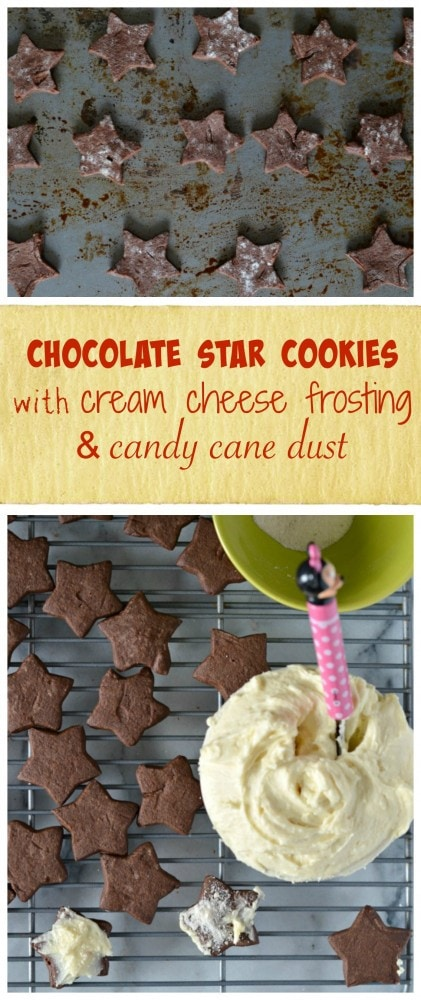 chocolate star cookies with cream cheese frosting and candy cane dust