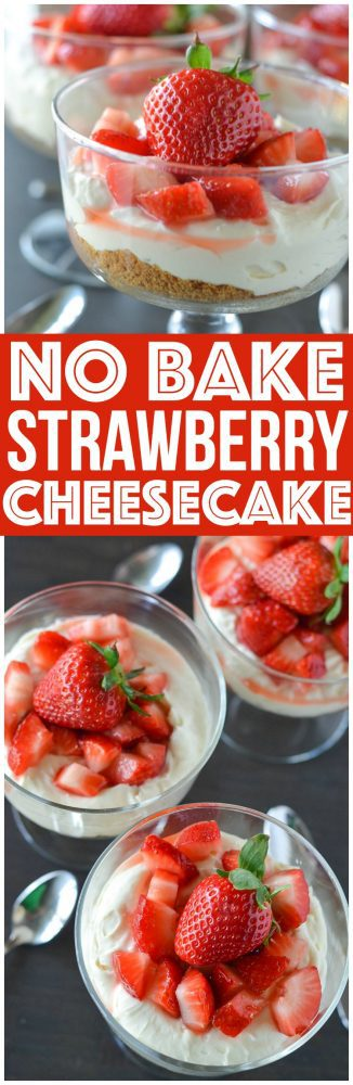 No Bake Strawberry Cheesecake. Simple quick and easy dessert recipe! We love making this delicious holiday recipe for entertaining parties.