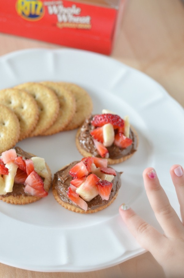 Easy RITZ® Cracker Snack Recipe Strawberry Banana and Chocolate