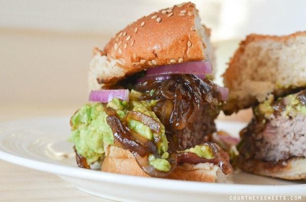 Avocado Bacon Burger with Sweet Balsamic Onion Relish
