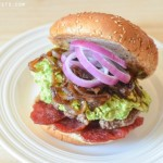 Avocado Bacon Burger with Sweet Balsamic Onion Relish