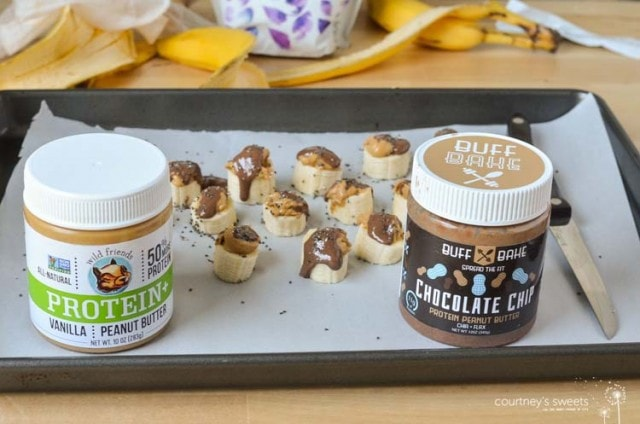 Chocolate Covered Peanut Butter Frozen Banana Protein Bites made with Protein Pantry products from Vitamin Shoppe
