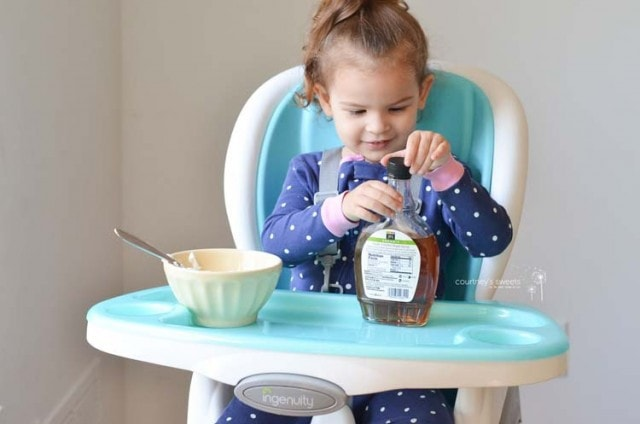 Homemade Maple Yogurt Recipe My Toddler made in her Ingenuity Trio 3-in-1 SmartClean High Chair