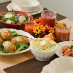 Fall Entertaining with Barber Foods Stuffed Chicken Breasts, Mashed Potatoes, spring mix salad and stuffed shells! Perfect Mashed Potatoes EVERY TIME!