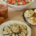 Panko and Parmesan Crusted Baked Zucchini and bathroom cleaning tips for your #HappyThanksGathering