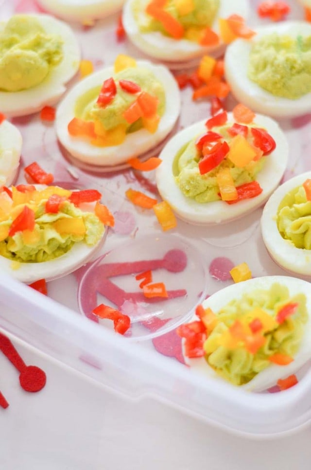 Avocado Deviled Eggs Christmas Trees plus how to transport food during the holidays with Rubbermaid TakeAlongs