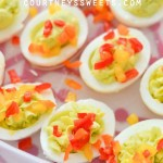 Avocado Deviled Eggs Christmas Trees with Rubbermaid TakeAlongs