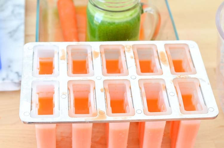 Fun Fruits and Veggies Carrot Ice Pops using Fresh Fruit and Vegetable Juice