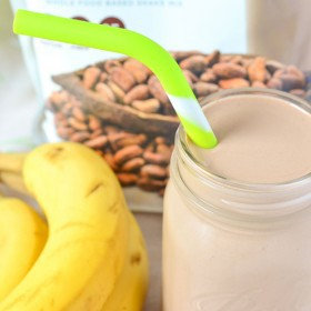 Chocolate Banana Protein Milkshake Healthy Food Lifestyle Change with Juice Plus+ Challenge