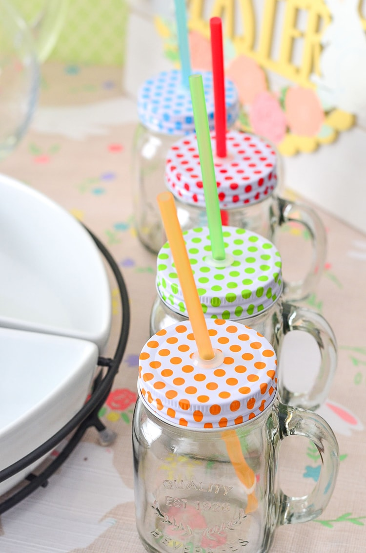 Fun Polka Dot Drinking Jars for Easter Brunch