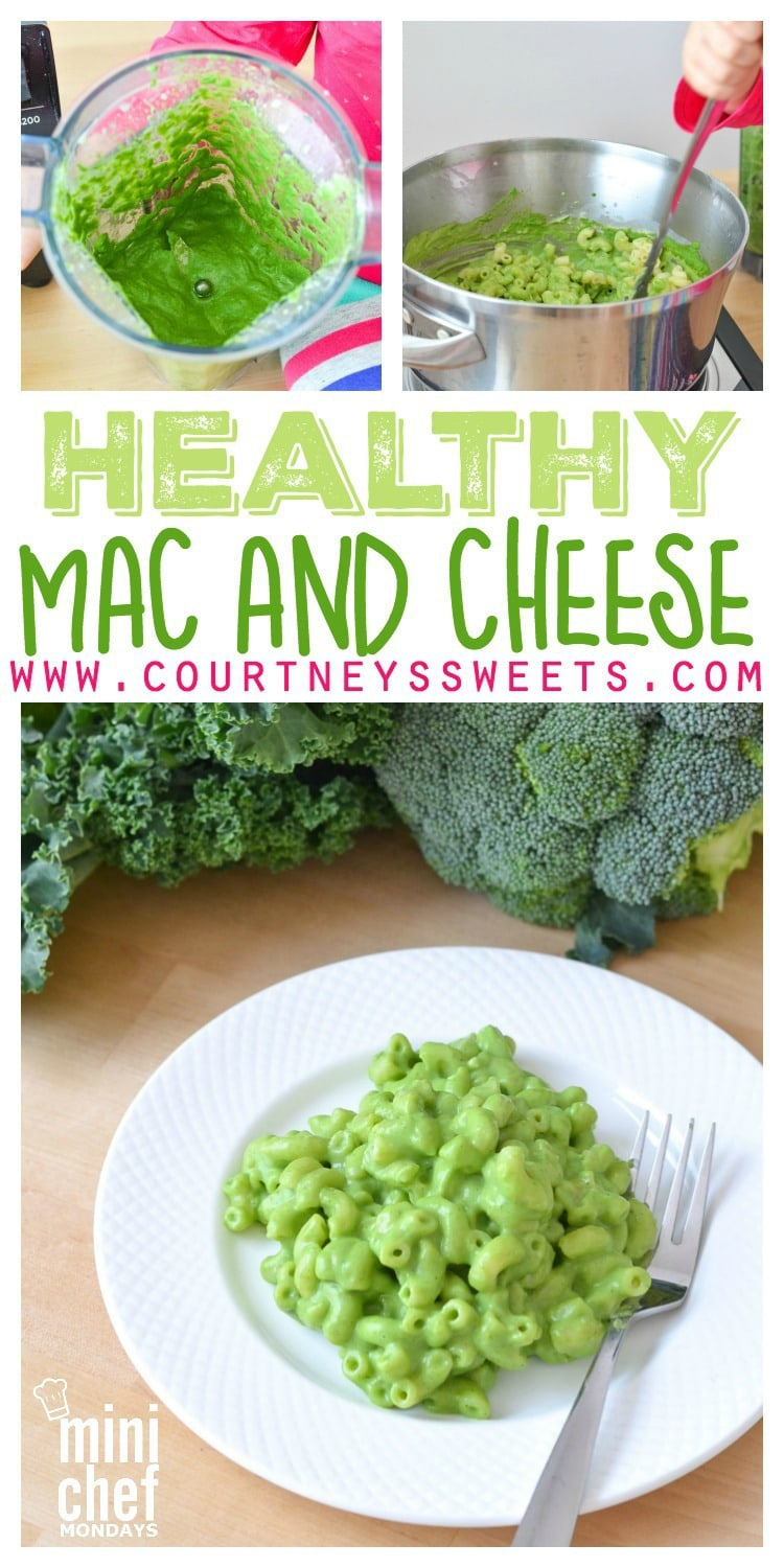 Healthy Mac and Cheese Recipe GREEN! Delicious vegetarian kid friendly recipe using kale and broccoli!