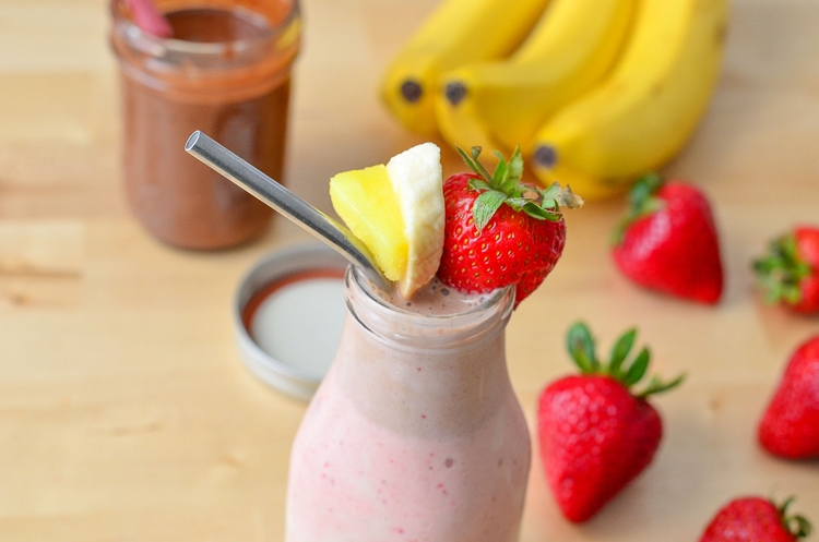 Healthy Banana Split Smoothie that you could easily enjoy for breakfast! Fun twist on the traditional dessert.
