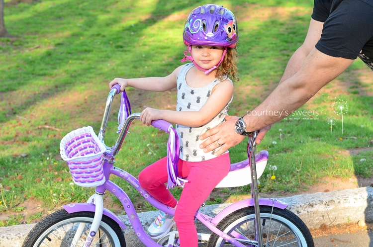 how to ride a bike, toddler style with Scwhinn! First Big Girl Bike!!