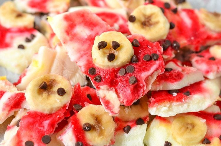 Banana Split Frozen Yogurt Bark, a refreshing frozen dessert for the whole family to enjoy. Using whole milk greek yogurt and fresh produce! Get this kid friendly recipe on www.courtneyssweets.com now for Mini Chef Mondays !