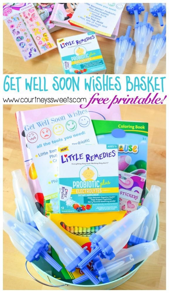 Get Well Soon Wishes, basket for when your little one is sick + Free Printable!