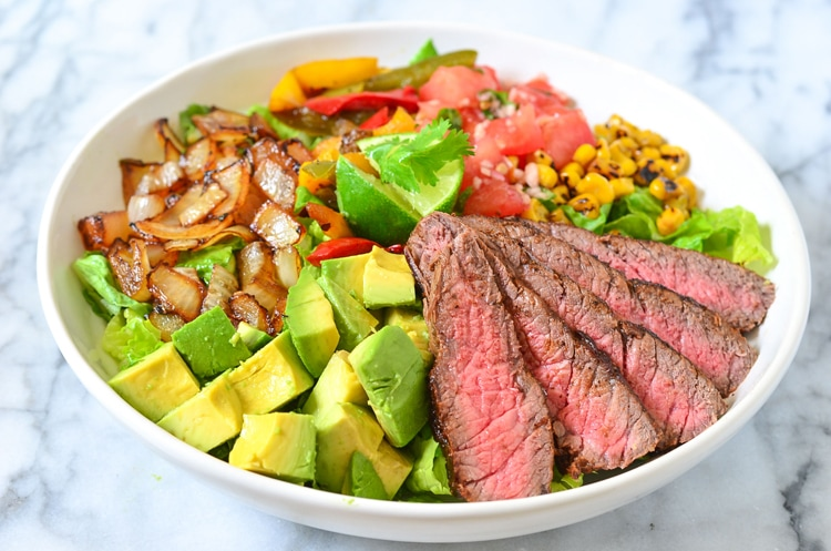 steak salad with ripe avocado