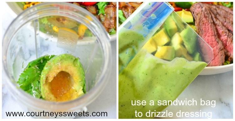 Avocado Steak Salad with Homemade Avocado Lime Cilantro Honey Dressing + how to pick the perfect avocado and remove the avocado pit without a knife!