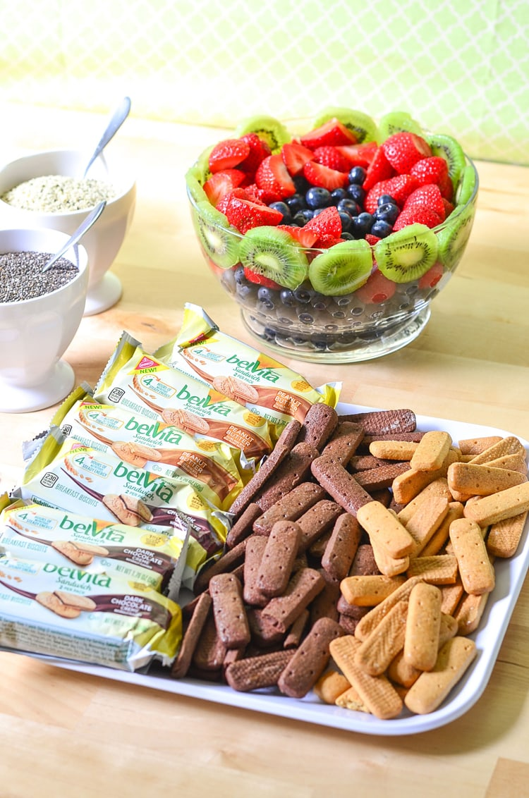 Easy Breakfast Party - Well balanced breakfast. Yogurt Bowls with fresh fruit, breakfast biscuits, dippers, cucumber lemon water and gifts to go!