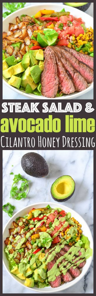Avocado Steak Salad with Homemade Avocado Lime Cilantro Honey Dressing + how to pick the perfect avocado and remove the avocado pit without a knife!