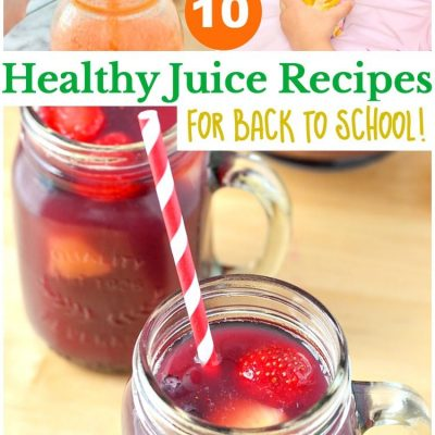 10 Healthy Juice Recipes for Back to School! Pack these healthy juice drinks with you kiddos lunch and they will have a homemade and healthy nutritious drink.