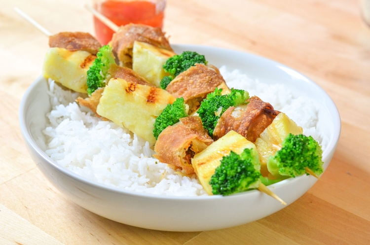 Sweet Chili Chicken Egg Roll Skewers Quick and Easy Dinner Recipe for the whole family to enjoy. Fakeout takeout