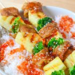 Sweet Chili Chicken Egg Roll Skewers