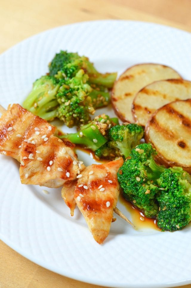 Teriyaki Chicken Skewers and Sweet Citrus Tea a tasty grilled meal with a refreshing tea mocktail. Healthy and delicious!